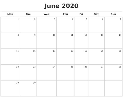 june calendar maker