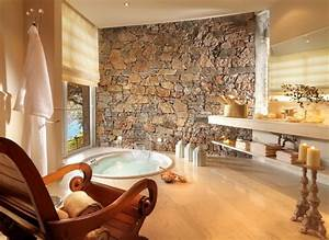 Salle de bains design naturel 25 idees en belles photos for Salle de bain design avec décoration végétale murale