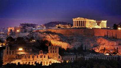 Greece Countries Geographic National Night Country Ruins