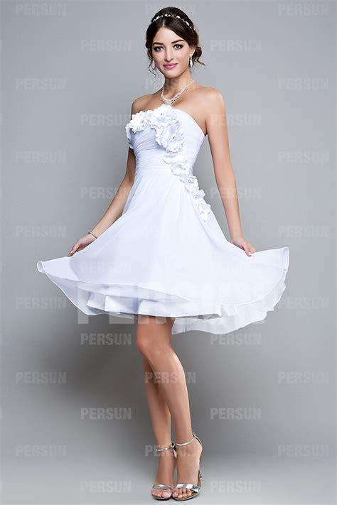 robe bustier blanche courte mariage robe courte pour soir 233 e blanche bustier orn 233 e de fleurs