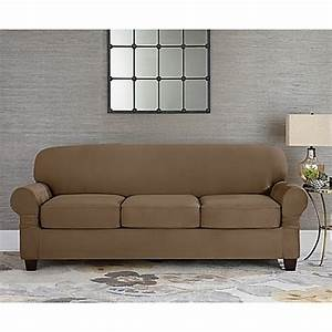 sure fitr designer suede individual cushion 3 seat sofa With fitted furniture slipcovers