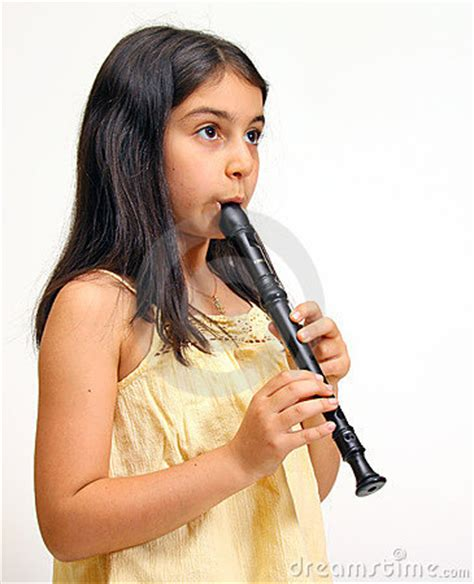 young girl playing recorder stock image image