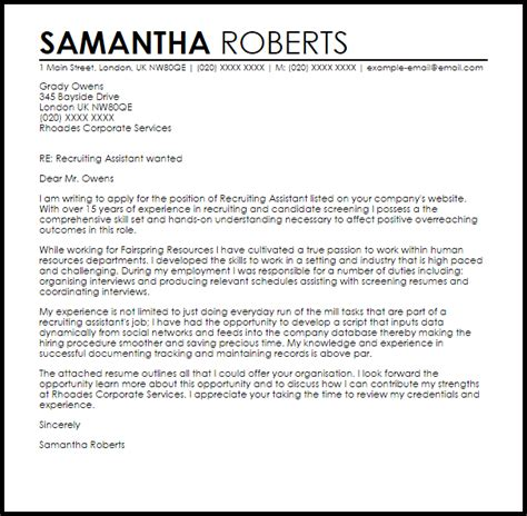 recruiting assistant cover letter sample cover letter
