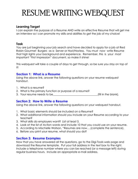 Writing Resume Your by Resume Writing Webquest