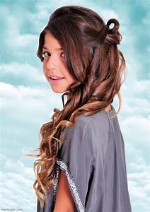Long curled and looped teen girls hairstyle for festivities and flower girls