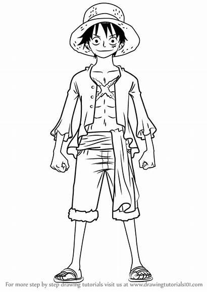 Luffy Piece Drawing Draw Monkey Anime Learn