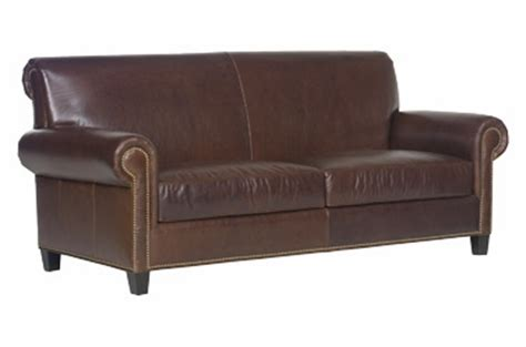 Leather Two-seat Roll-back Sofa W/ Nail Head Trim