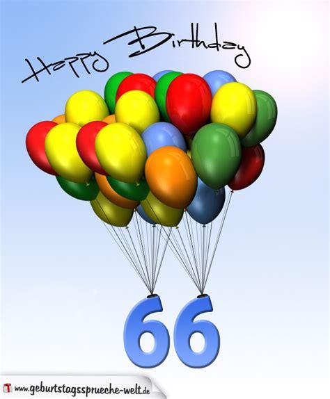 geburtstagskarte mit luftballons zum 66 geburtstag