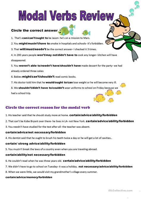 page  modal verbs review  key worksheet