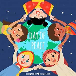 Peace day background with united children Vector | Free ...