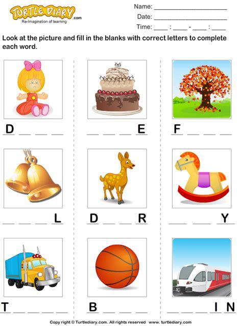 find  missing letters  complete  words worksheet