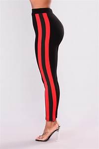 Casually Slay Striped Leggings - Black/Red