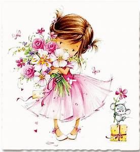 fillette bouquet de fleurs gif anime petales printemps With affiche chambre bébé avec bouquet de fleurs avec macarons