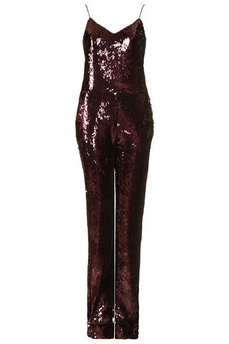 sequins jumpsuit lyst topshop sequin jumpsuit by unique in purple
