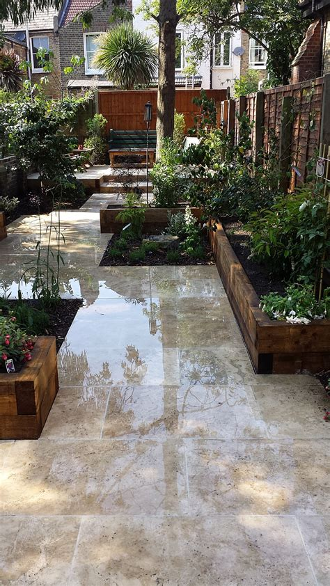 travertine paving patio modern garden design landscaping
