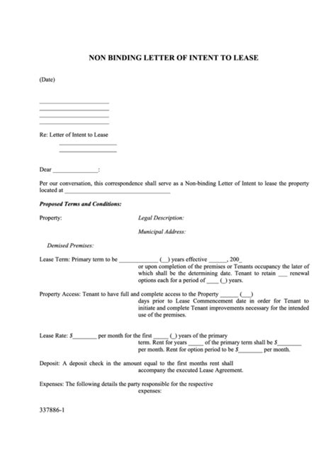 binding letter  intent  lease printable