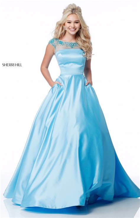 sherri hill  long satin ball gown cap sleeves prom