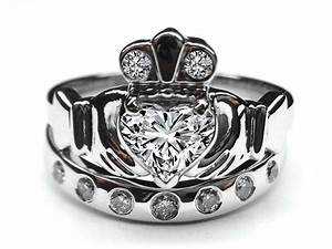 engagement ring heart diamond claddagh engagement ring With diamond claddagh wedding ring