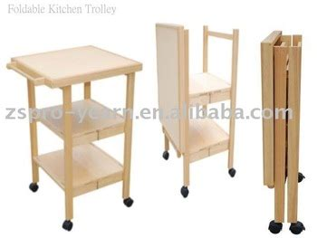 foldable wooden kitchen service trolley cart