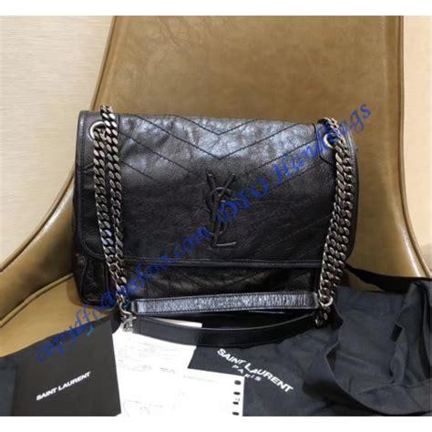 saint laurent medium niki chain bag  crinkled  quilted black leather