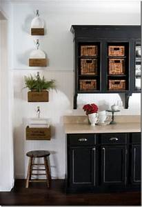 black beadboard backsplash design ideas With kitchen colors with white cabinets with wicker basket wall art