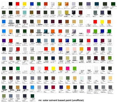 mr color solvent based paint color chart mech9 com