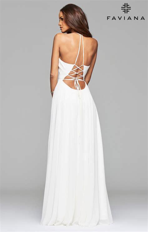 faviana  open corset  dress   neckline