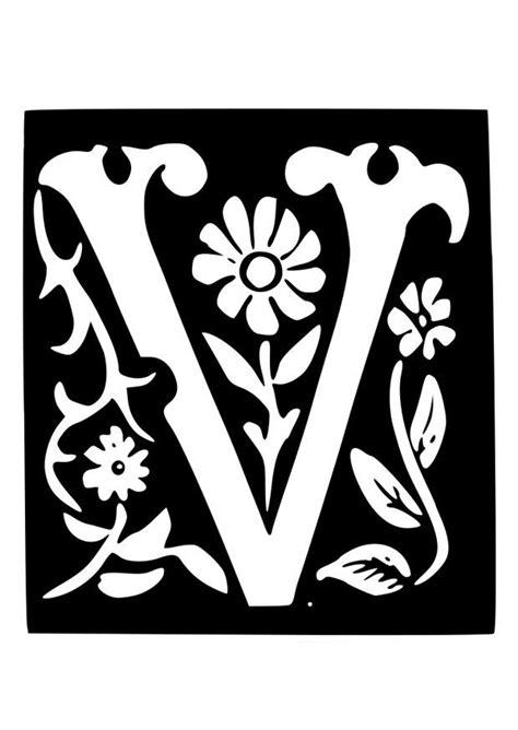 Kleurplaat V by Kleurplaat Decoratieve Letter V Afb 19035
