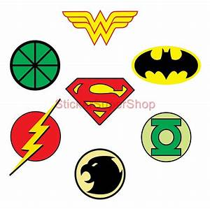Justice League Logos Decal Removable Wall Sticker Home ...