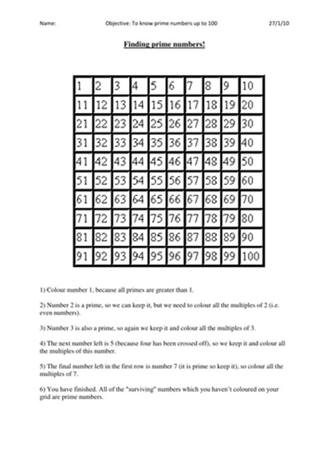 Discovering Prime Numbers By Bonniemarieone  Teaching Resources Tes