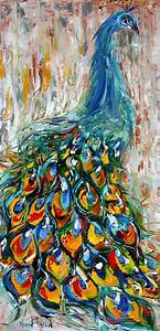 Original oil painting PEACOCK bird decorative palette ...