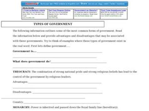 types of government 3rd grade worksheet lesson planet