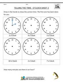 O Clock Time Worksheets