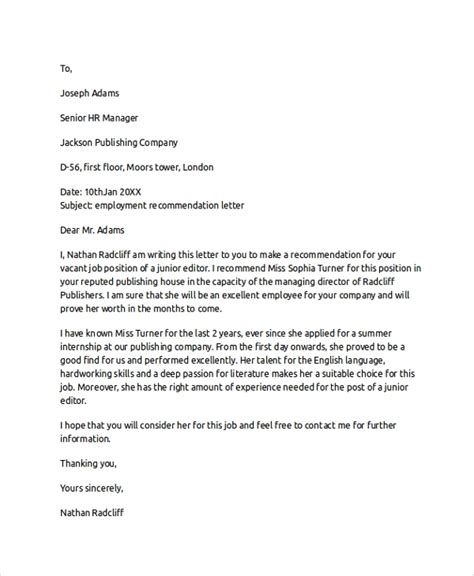 letter  recommendation   samples   word