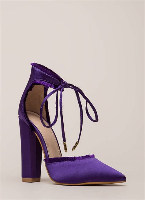 Pointy Satin Rotelli Heels fab fringe pointy chunky satin heels black mauve purple
