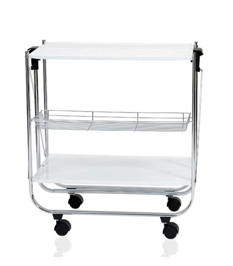 table roulante rectangulaire pliable inox et blanc laqu 233 andrea house wadiga