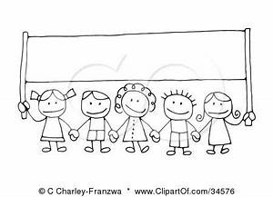 Kids holding hands clipart black and white