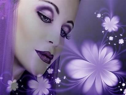 Fantasy Woman Wallpapers Purple Backgrounds Flowers Desktop