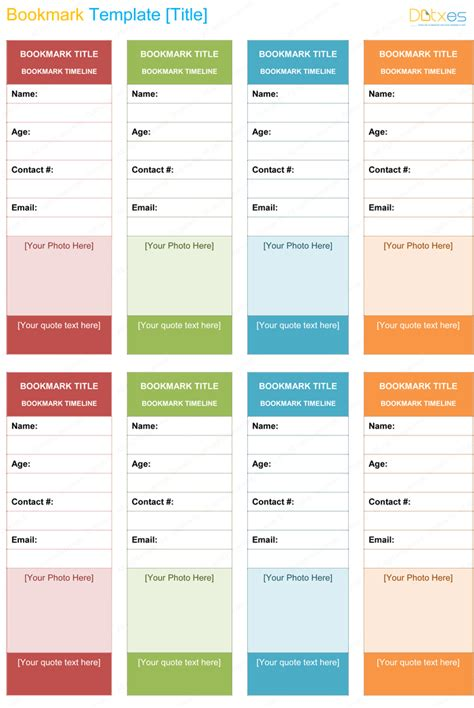printable bookmark template  word dotxes