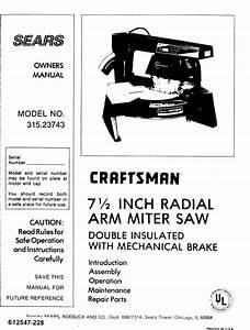 Craftsman 31523743 User Manual Radial Arm Miter Saw