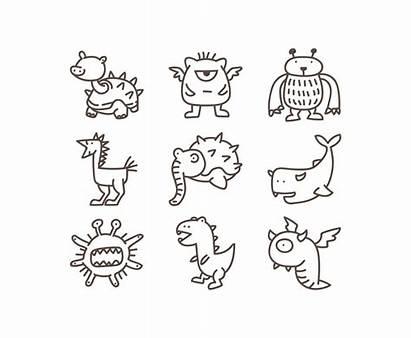 Doodle Vector Monster Monsters Clip Cartoon Creature