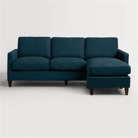 world market abbott sofa dolphin azure blue textured woven abbott sofa world market