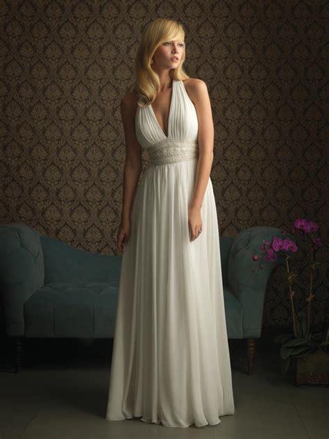 ivory halter flower beaded chiffon columnsheath unique  wedding dress zoombridalcom prlog
