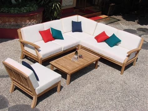 pc teakwood teak wood indoor outdoor patio sectional
