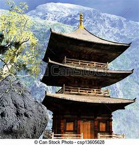 Clip Art of Buddhist temple in mountains - Buddhist temple ...