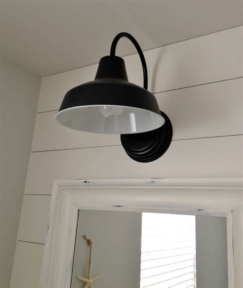 barn wall sconce lends farmhouse to powder room remake barnlightelectric