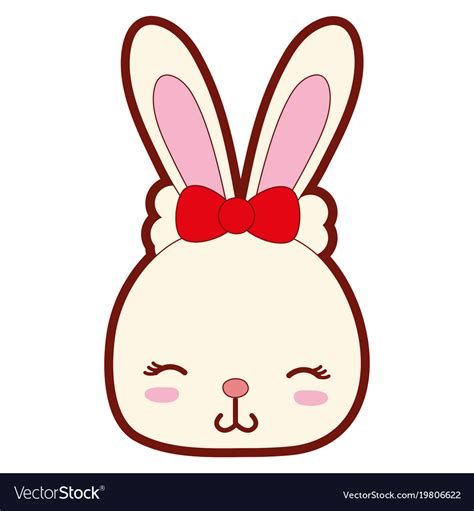 color shy rabbit head female wild animal vector image