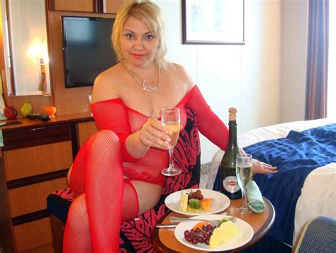 Drunk Mature Lady In The Beautiful Red Lingerie With Glass Of The Wine In The Hand Homemade