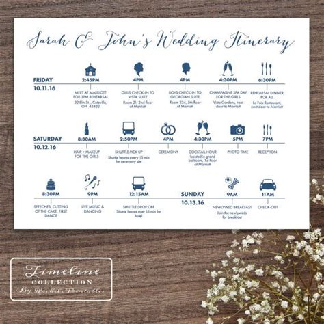 printable wedding timeline day  itinerary schedule card