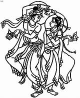 Dance Drawing Indian Clipart Krishna Dancing Folk Coloring India Clip Cartoon Drawings Garba Cliparts Line Dancers Dances Radha Symbols Traditional sketch template